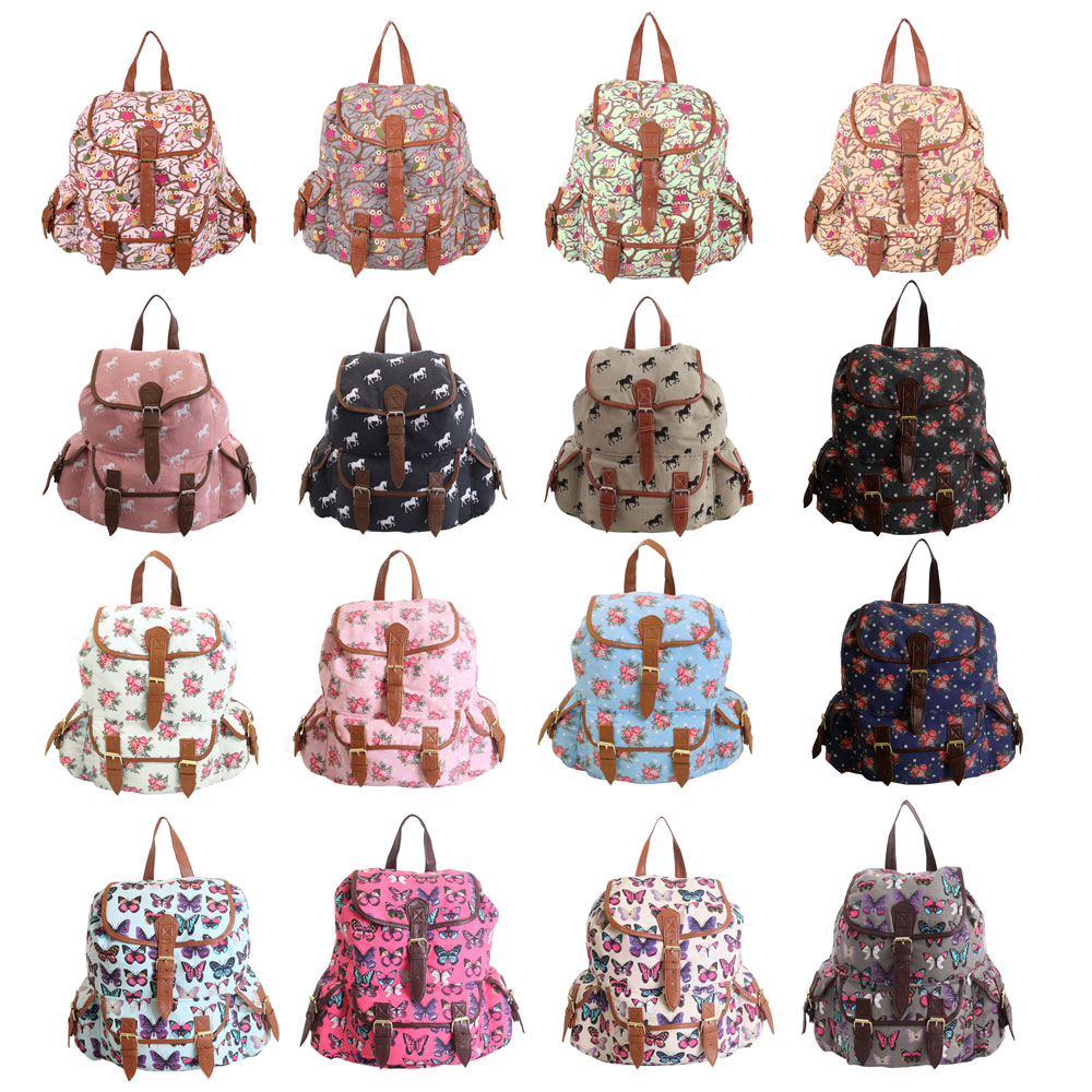 Ladies Girls Canvas Backpack Rucksack School Gym College Travel ...