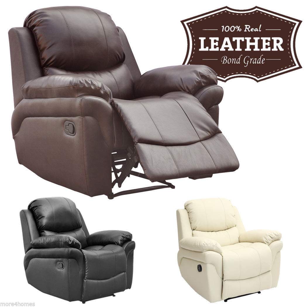 MADISON REAL LEATHER RECLINER ARMCHAIR SOFA HOME LOUNGE CHAIR RECLINING GAMING